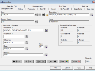 Cloud Hosted Tool Management Inventory Control And Crib Management